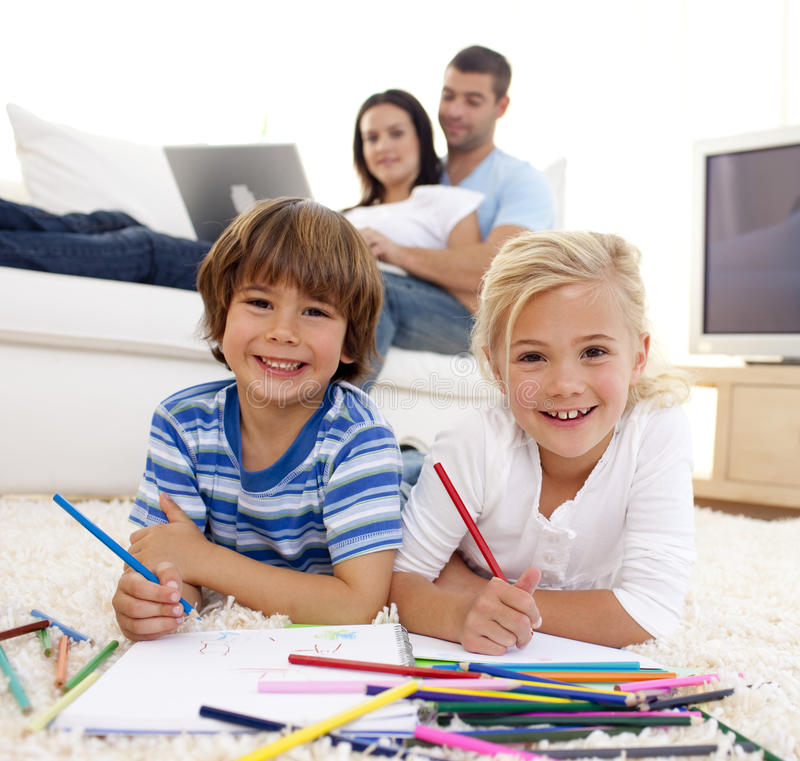 Download Brother And Sister Painting In Living-room Royalty Free Stock Photo - Image: 11541895