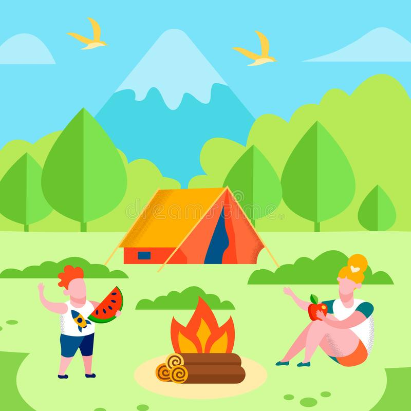 Brother Sister on Picnic Recreation Promo Banner stock illustration