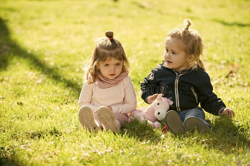 Brother and sister play together. Children, childhood concept. Girl and boy sit on green grass. Sister and brother play with toy horse on sunny day. Family royalty free stock image