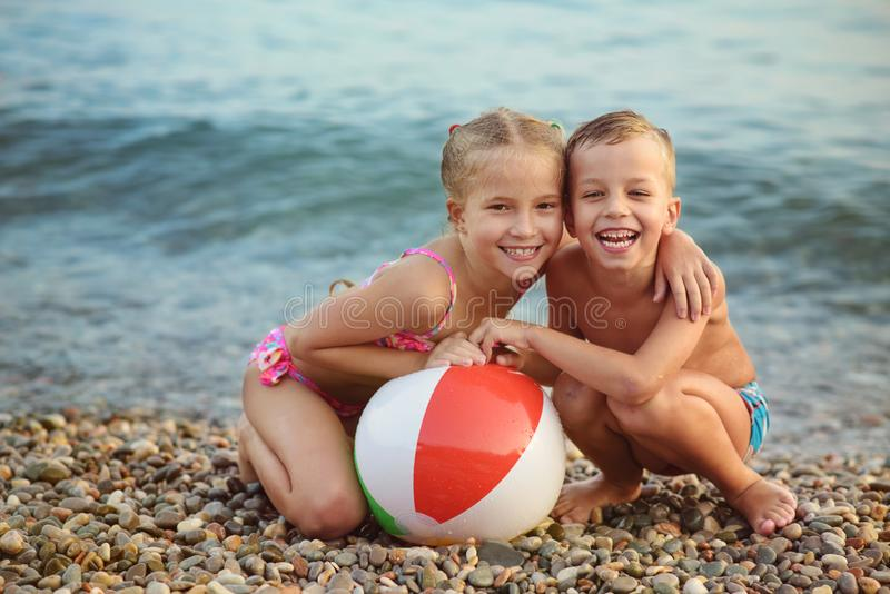 Happy children on the beach stock photography