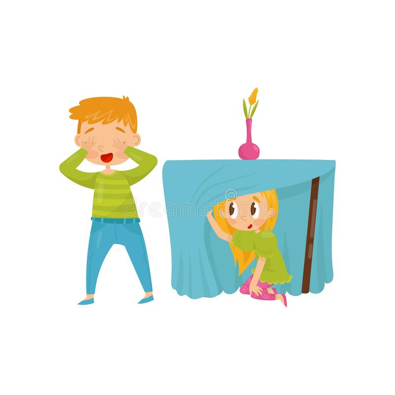 Brother and sister playing hide-and-seek. Girl hiding under table. Boy closing eyes with his hands. Flat vector design. Brother and sister playing hide-and-seek stock illustration