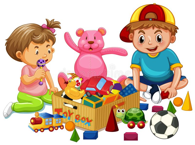 Brother and Sister Playing Toys. Illustration vector illustration
