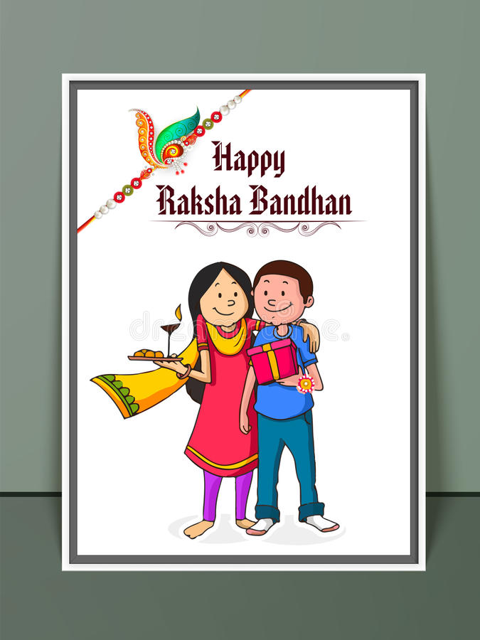 Brother and sister for Raksha Bandhan celebration. royalty free illustration