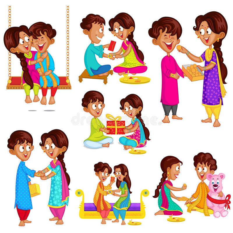 Brother and Sister in Raksha Bandhan vector illustration