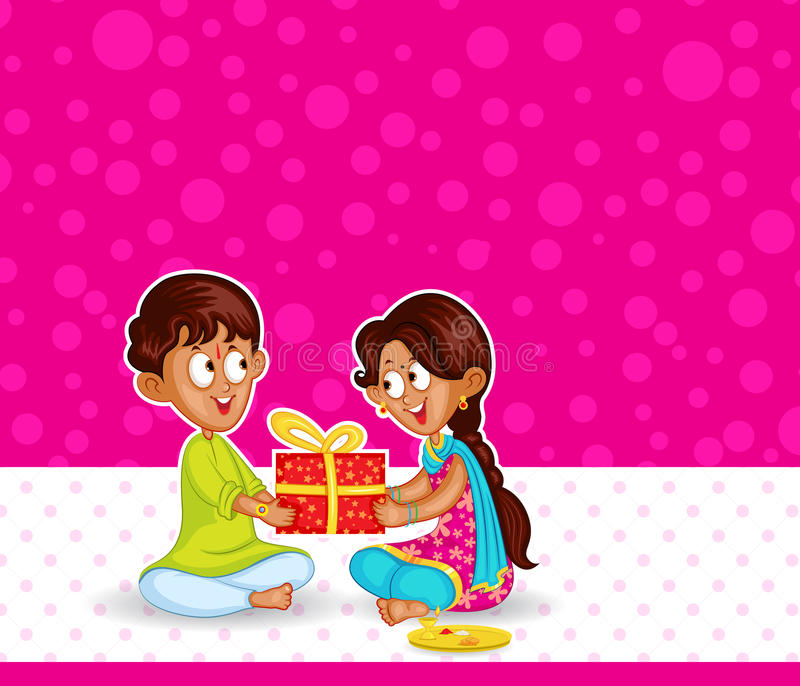 Brother and Sister in Raksha Bandhan stock illustration