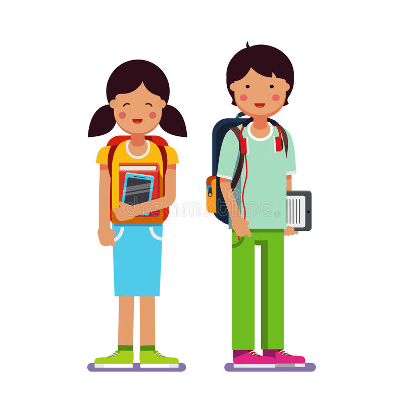 Brother and sister school or collage students. Standing together wearing backpacks holding books, textbooks and tablet computers. Flat style modern vector stock illustration