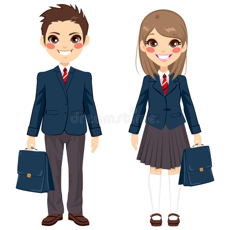 Brother And Sister Students. Two cute teenage brother and sister students standing together with uniform and holding suitcase royalty free illustration