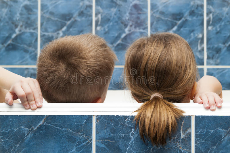 Brother And Sister Taking A Bubble Bath. Little Boy And Girl Pla ...