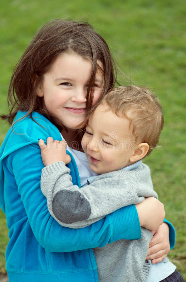 Brother and sister tenderness royalty free stock photography