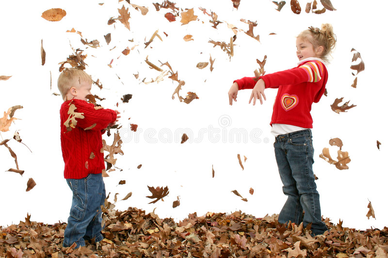 Brother and Sister Throwing Leaves royalty free stock image