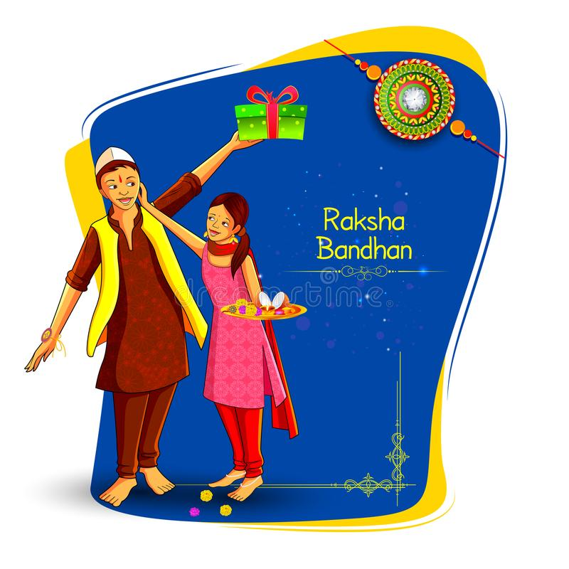 Brother and sister tying decorated Rakhi for Indian festival Raksha Bandhan stock illustration