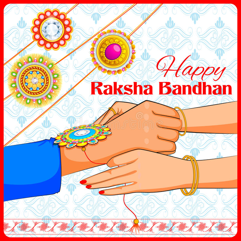 Brother and Sister tying rakhi on Raksha Bandhan stock illustration