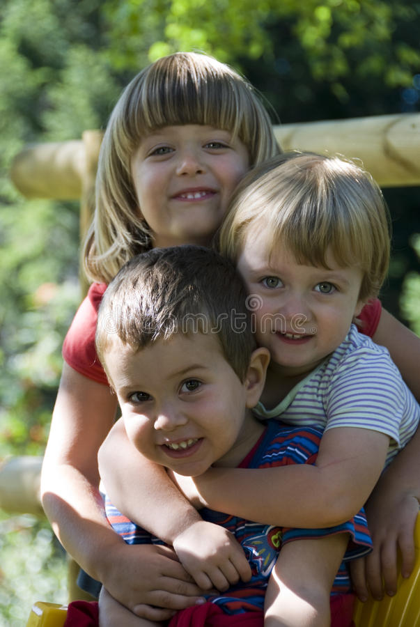 Brother and sisters - best friends stock images