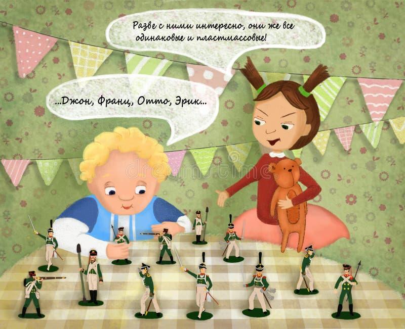 Brother y hermana Playing Toys stock de ilustración