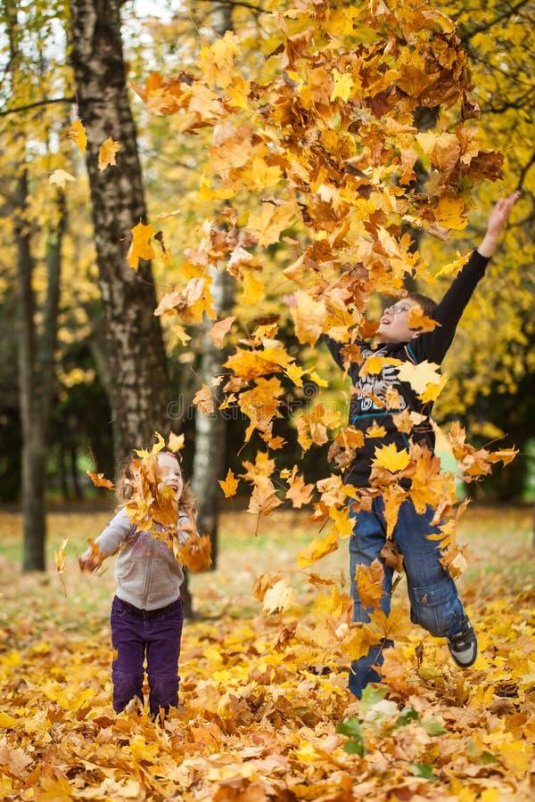 Brother y hojas que lanzan de la hermana en parque del otoño foto de archivo libre de regalías
