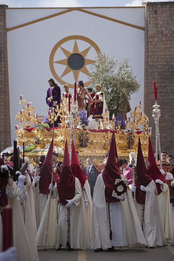 Brotherhood of Jesus in his apprehension by initiating its output in a procession of St. Augustine's church. Holy thursday, Linares Jaen province, Andalucia stock photography