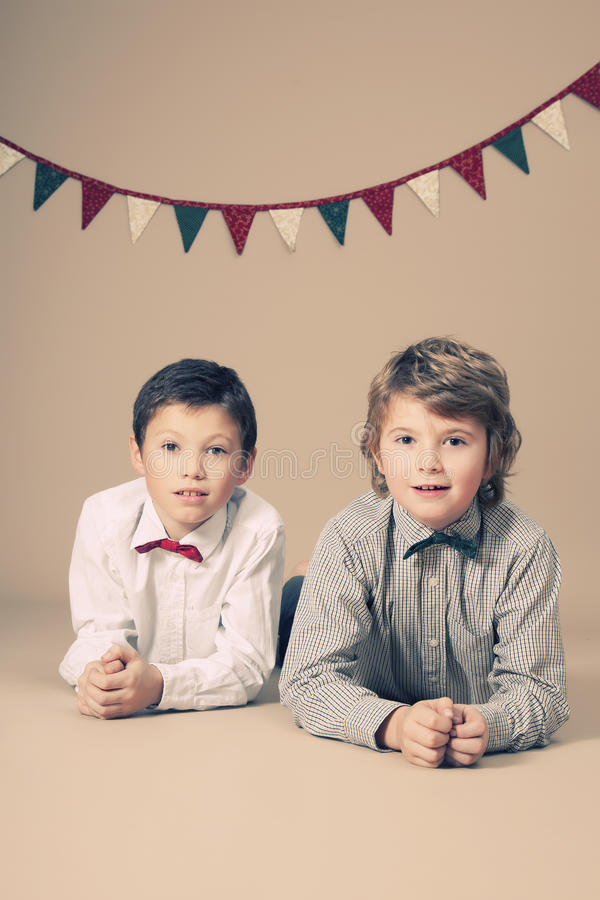 Brothers during Christmas royalty free stock photo
