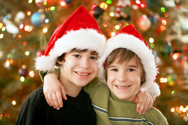 Brothers in Christmas Hats. In Front of Tree royalty free stock image