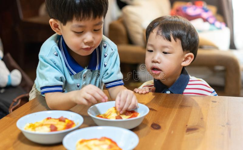 The brothers are enjoying their favorite omelet before going to school royalty free stock images