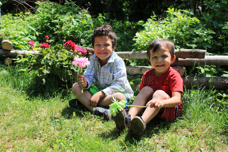 Brothers in the garden