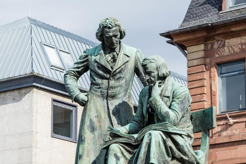 Brothers Grimm monument in Hanau Germany royalty free stock photography