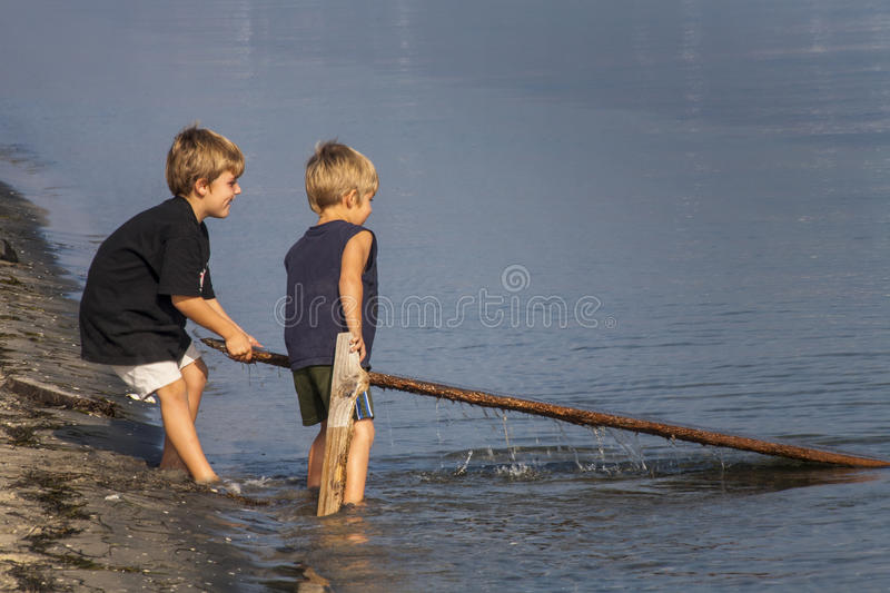 Brothers Investigate San Diego Bay royalty free stock photo