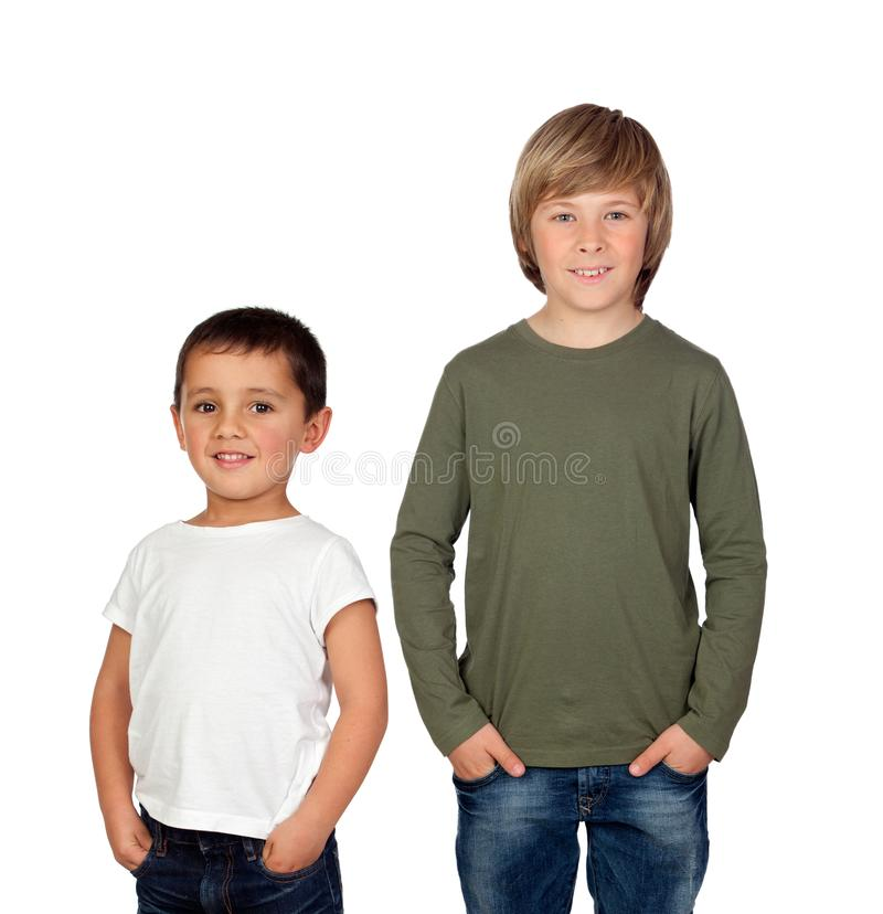 Two brothers isolated stock photo