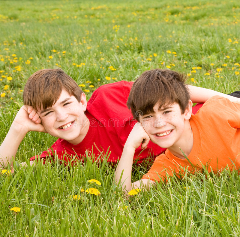 Brothers Laying in a Field royalty free stock photos