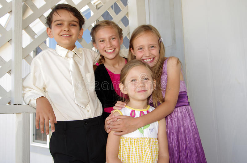 Brothers and sisters stock image