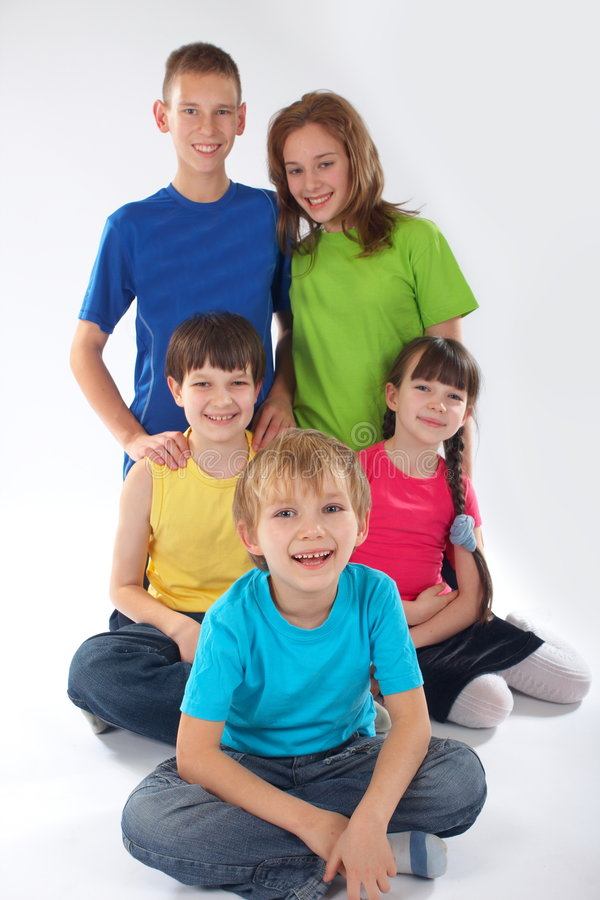 Download Brothers and sisters stock image. Image of caucasian, happy - 4191041