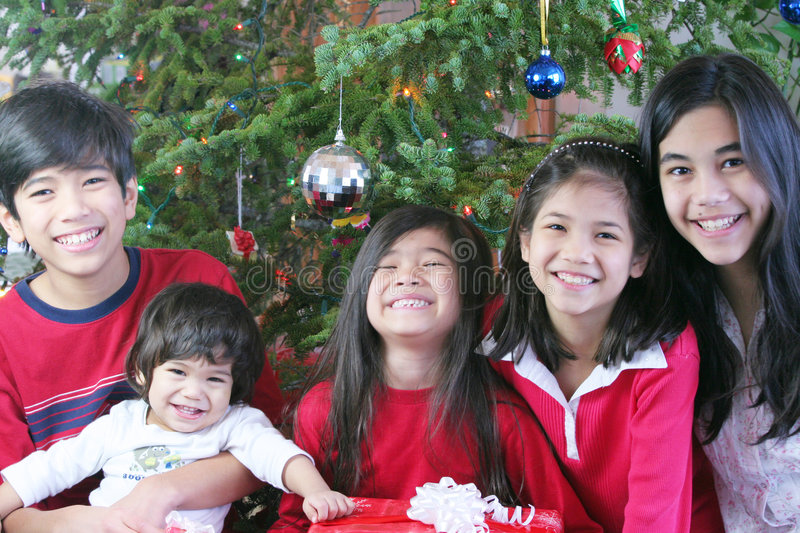Download Brothers And Sisters At Christmas Stock Image - Image: 3747581