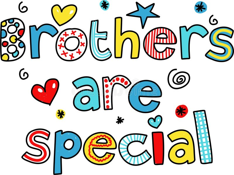 Brothers are special. Whimsical decorative brothers are Special text message isolated on white royalty free illustration