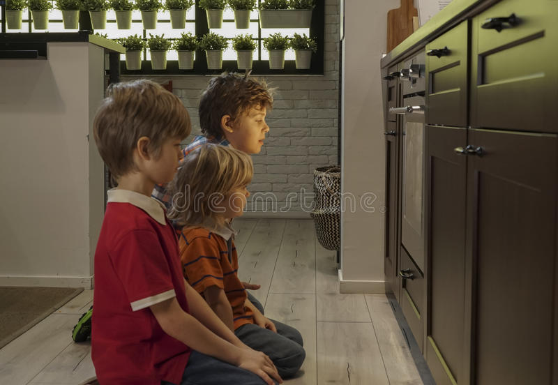 Brothers watching cookie bake in oven. Three young brothers watching cookie bake in oven royalty free stock photos