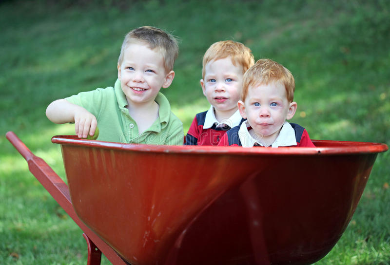 Brothers in wheel barrow. Three young brothers sitting in wheel barrow stock photos