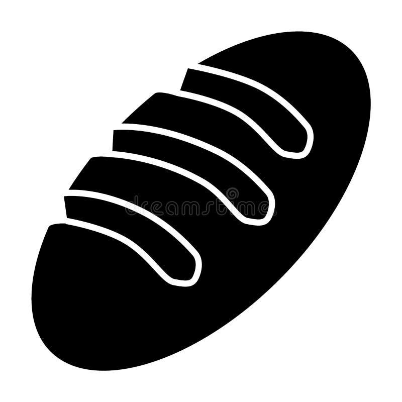 Brotkörperikone Lange Laibvektorillustration lokalisiert auf Weiß Bäckerei Glyph-Artdesign, bestimmt für Netz und APP stock abbildung