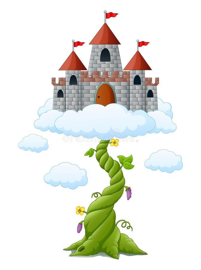 Broto de feijão dos desenhos animados com o castelo nas nuvens ilustração do vetor