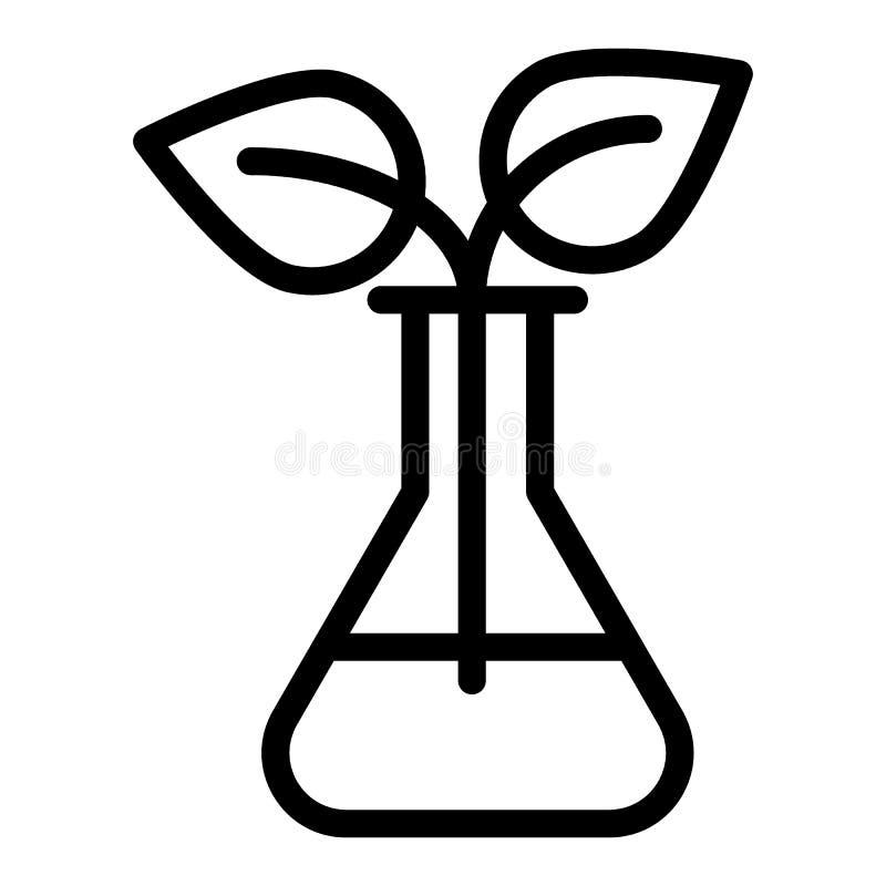 Broto na linha ícone das garrafas do laboratório Garrafa do laboratório com a ilustração do vetor da planta isolada no branco Est ilustração royalty free