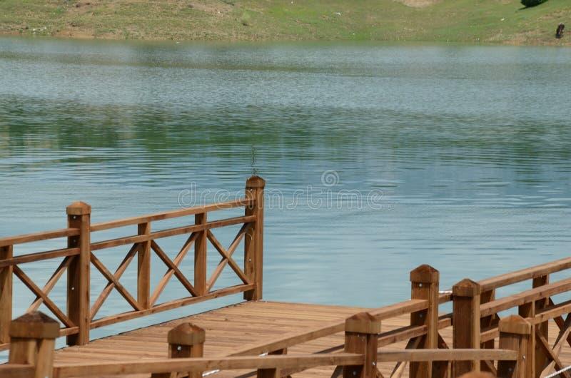 Broträ och blått vatten royaltyfri bild