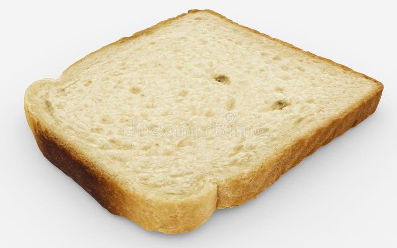 Brotscheibe - einzelne Toastnahaufnahme - lokalisiert auf Weiß lizenzfreie stockbilder