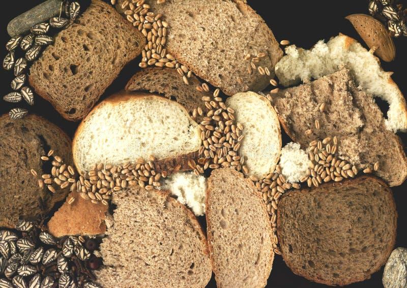 Brotscheiben und -startwerte für Zufallsgenerator lizenzfreie stockfotos
