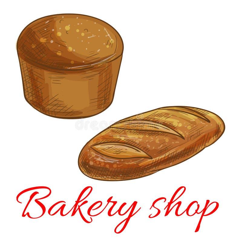 Brotskizzenikonen für Bäckereishop stock abbildung