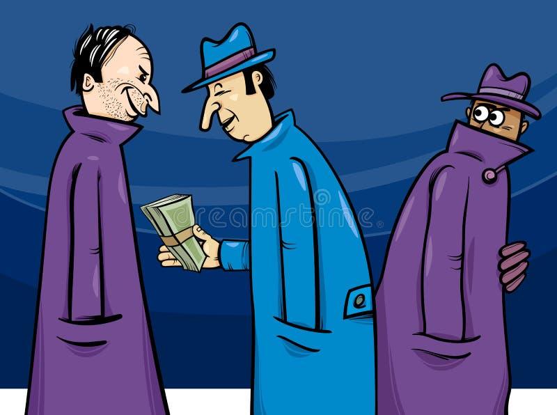 Brott- eller korruptiontecknad filmillustration vektor illustrationer