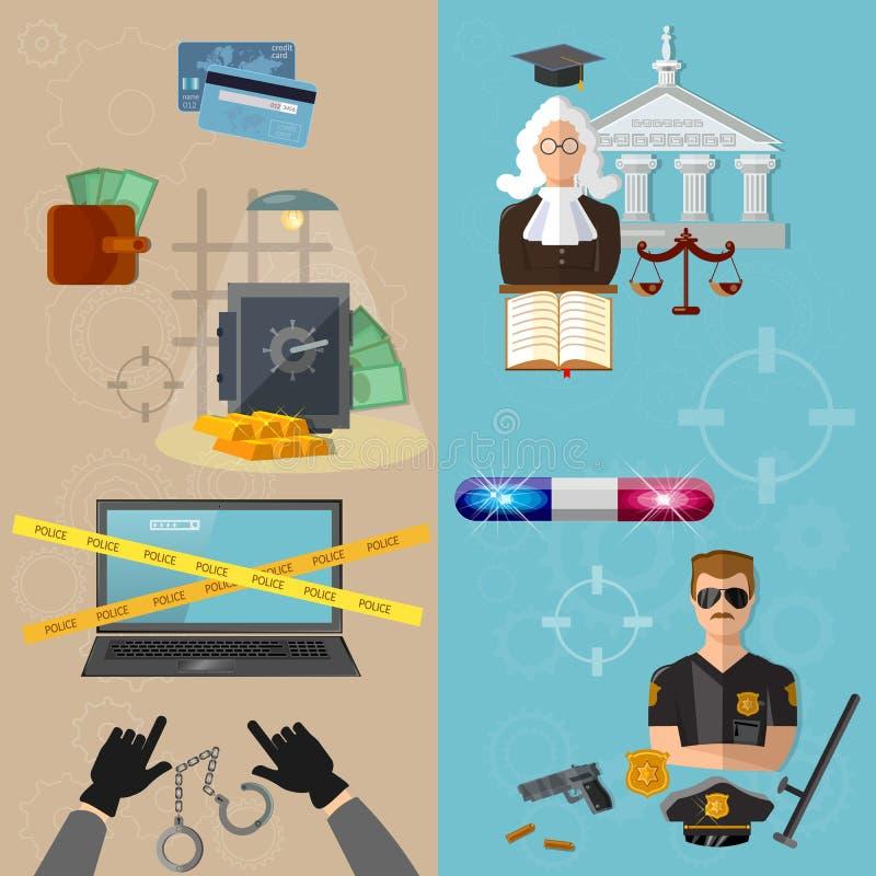 Brott och bestraffning för tjuv- och polisdataskydd royaltyfri illustrationer