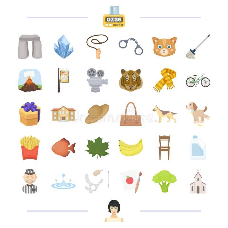 Brottet, loppet och annan rengöringsduksymbol i tecknad film utformar Djur konstsymboler i uppsättningsamling stock illustrationer