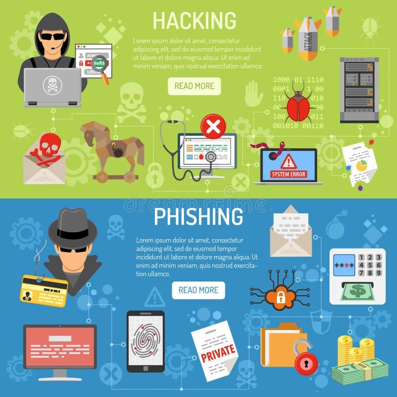 Brotts- dataintrång för Cyber och phishing baner stock illustrationer