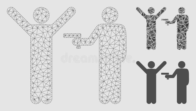Brotts- röverivektor Mesh Network Model och mosaisk symbol för triangel royaltyfri illustrationer