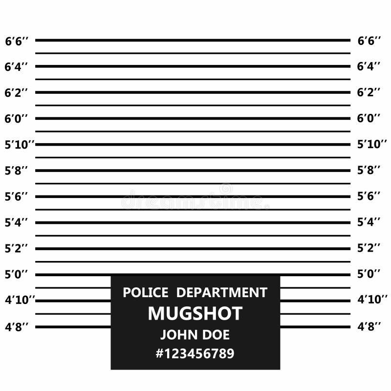 Brottslig mugshotlinje Polislineup eller mugshot royaltyfri illustrationer