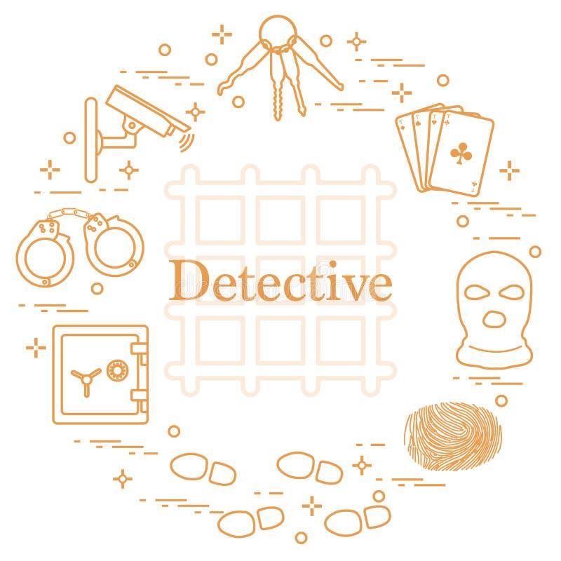 Brottsliga och detektiv- beståndsdelar Brott-, lag- och rättvisavektor I vektor illustrationer