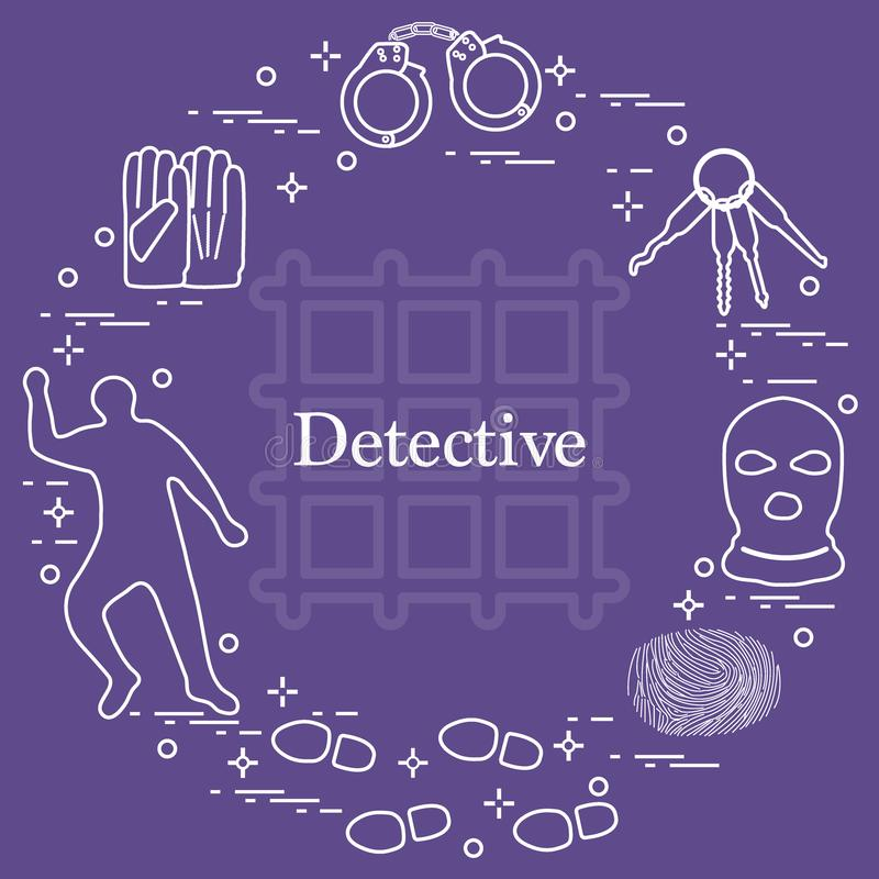 Brottsliga och detektiv- beståndsdelar Brott-, lag- och rättvisavektor I royaltyfri illustrationer