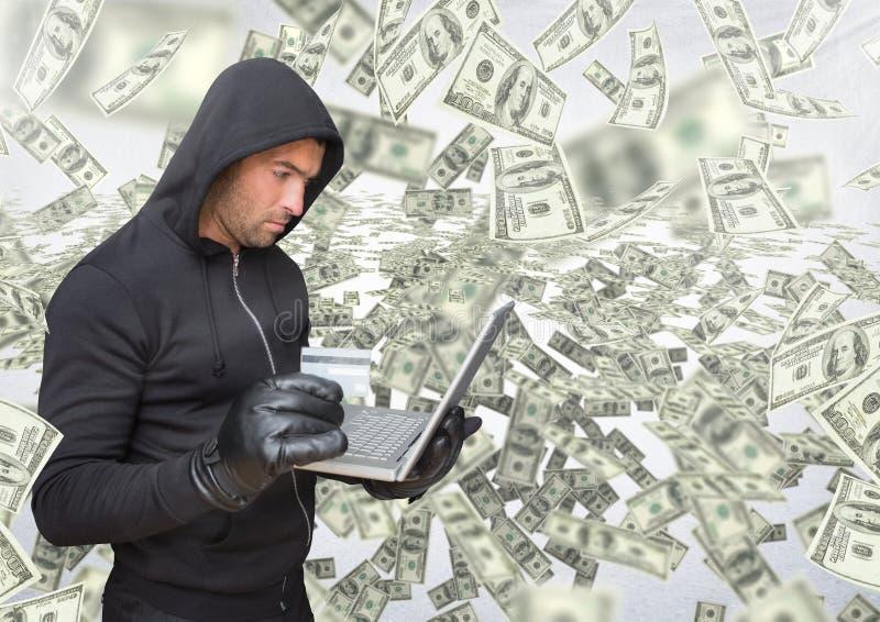 Brottsling i huv på bärbara datorn framme av massor av pengar vektor illustrationer